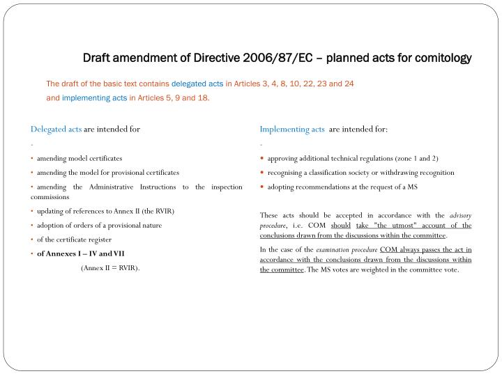 Draft amendment of Directive 2006/87/EC – planned acts for comitology