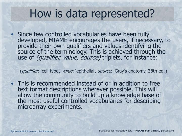 How is data represented?