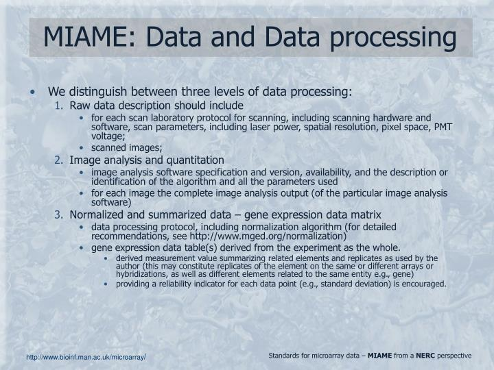 MIAME: Data and Data processing