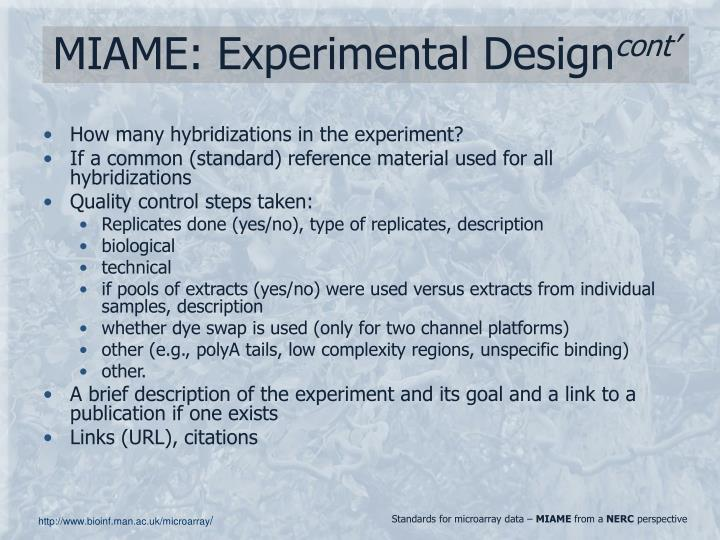 MIAME: Experimental Design