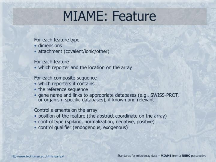 MIAME: Feature