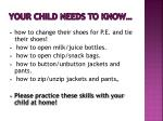 your child needs to know