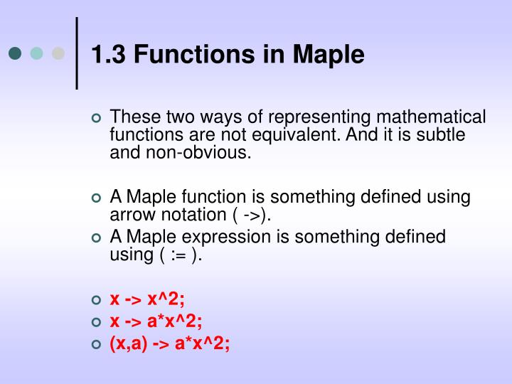 1.3 Functions in Maple