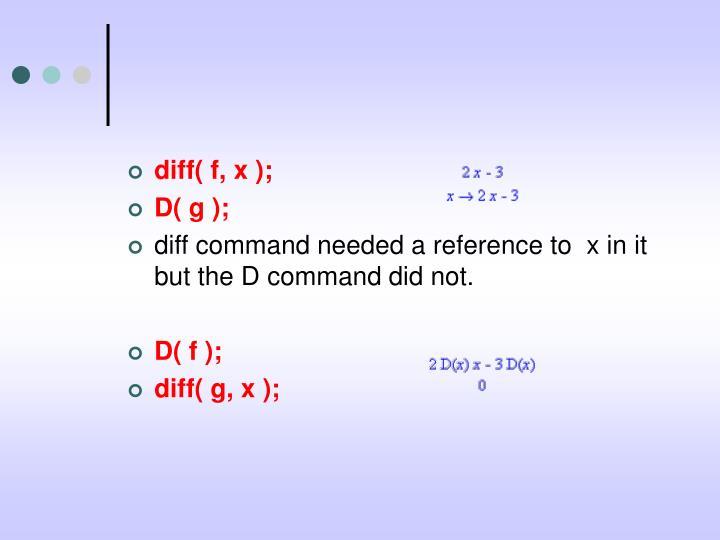 diff( f, x );