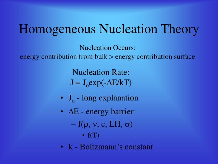 Homogeneous nucleation theory
