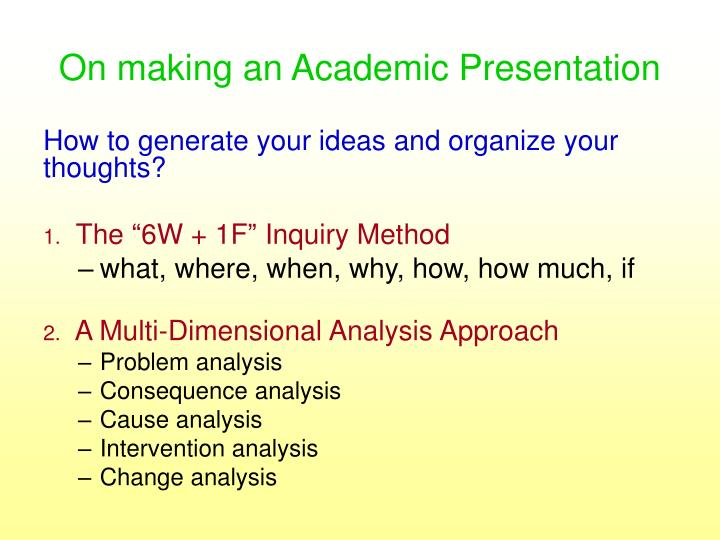 On making an Academic Presentation