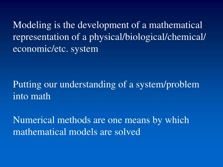 Modeling is the development of a mathematical