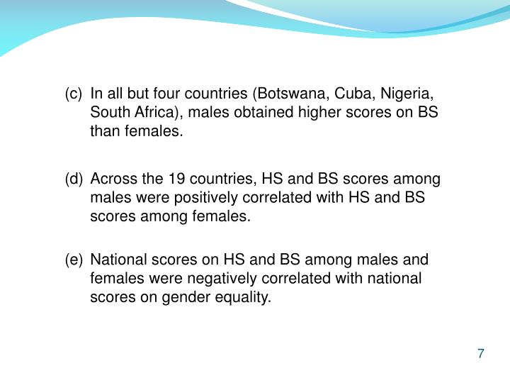 (c) 	In all but four countries (Botswana, Cuba, Nigeria, 	South Africa), males obtained higher scores on BS 	than females.