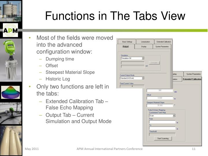 Functions in The Tabs View