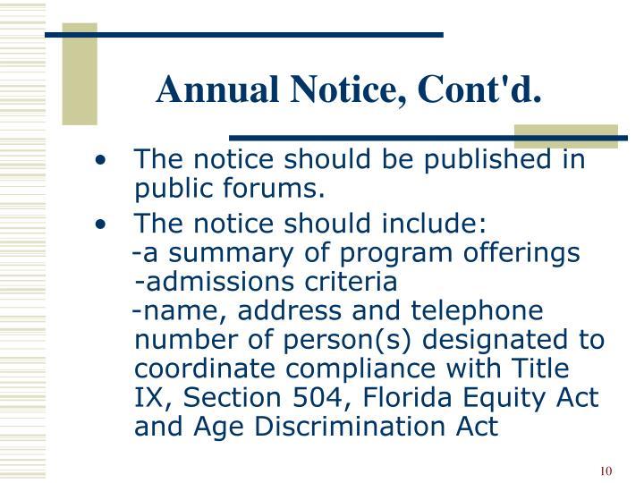 Annual Notice, Cont'd.