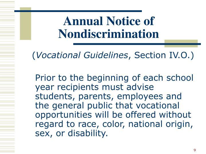 Annual Notice of Nondiscrimination