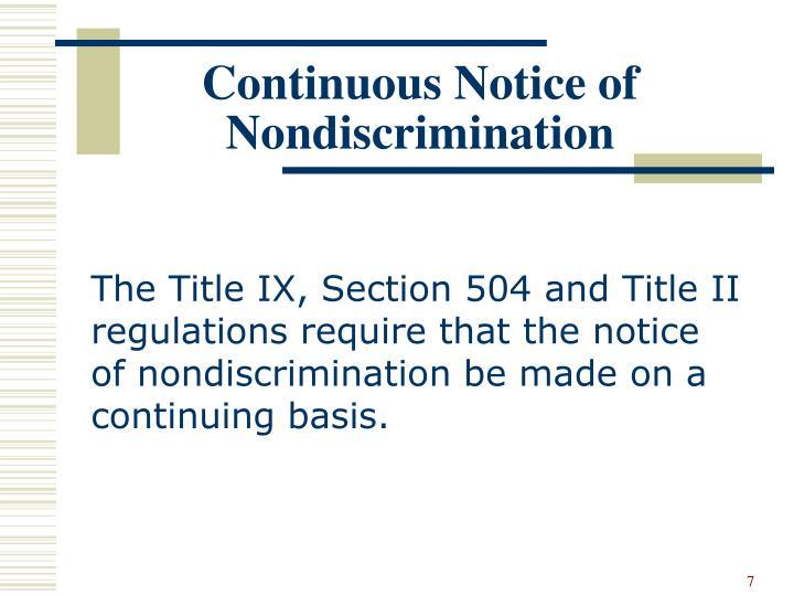 Continuous Notice of Nondiscrimination