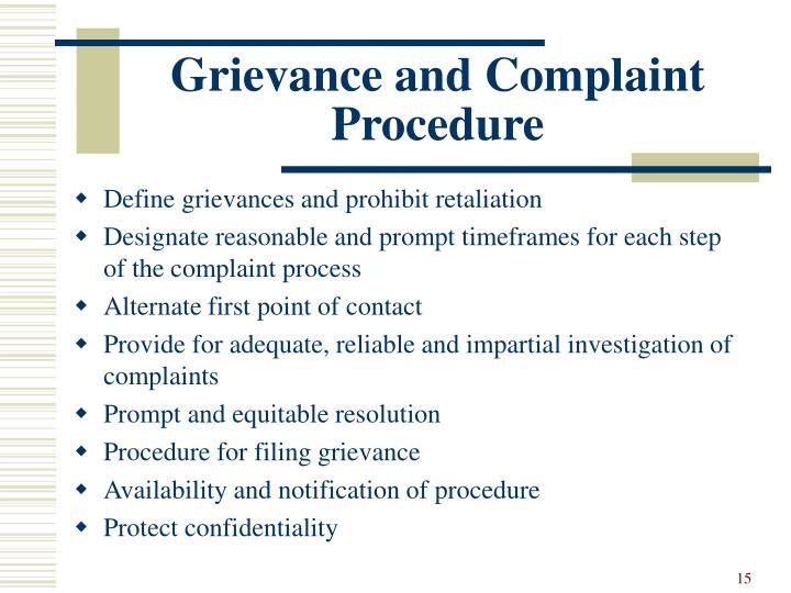 Grievance and Complaint Procedure
