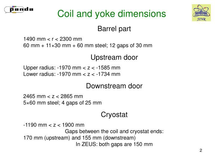 Coil and yoke dimensions