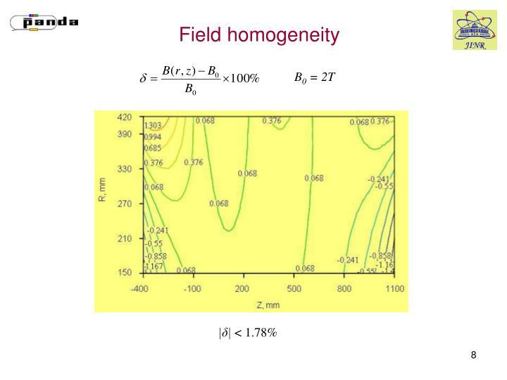 Field homogeneity