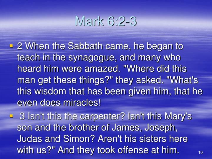 Mark 6:2-3