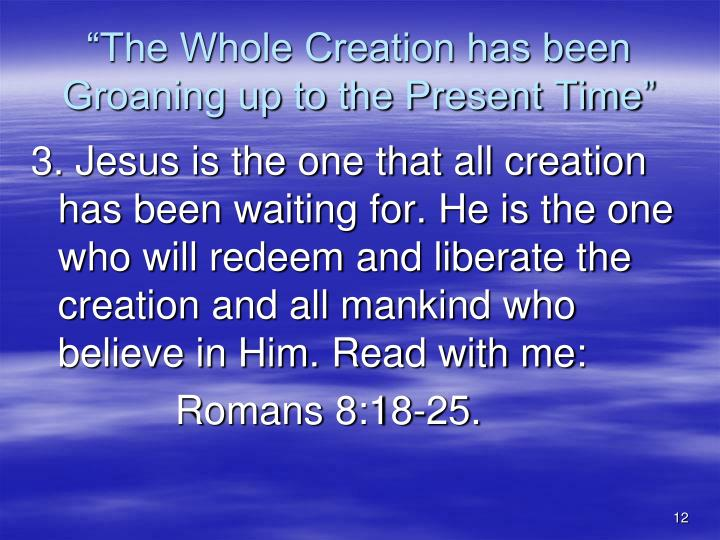 """The Whole Creation has been Groaning up to the Present Time"""