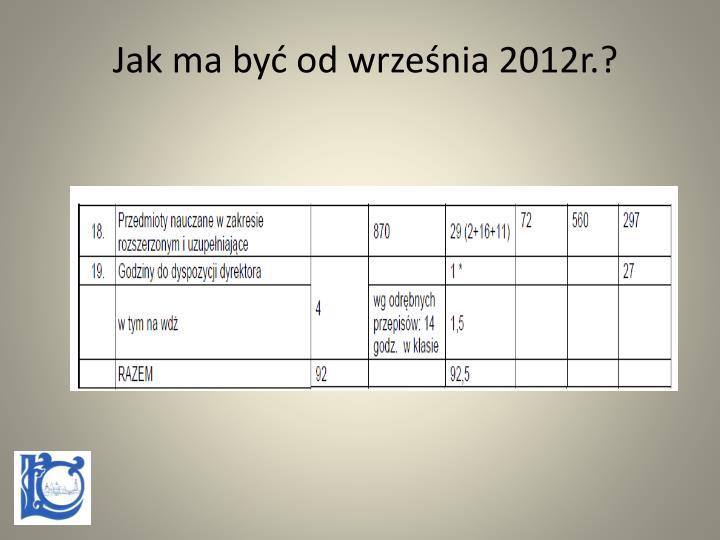 Jak ma być od września 2012r.?