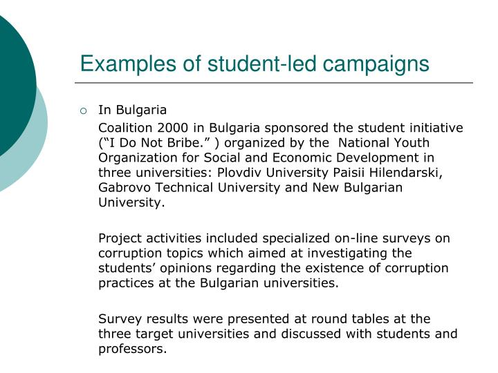 Examples of student-led campaigns