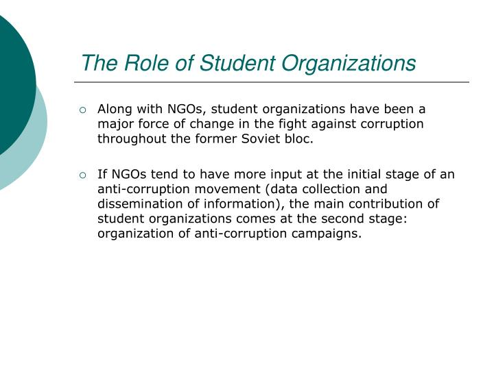 The Role of Student Organizations