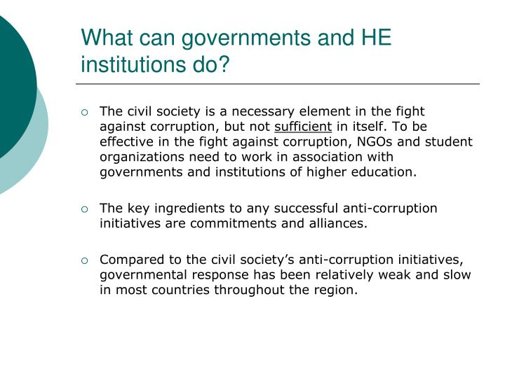 What can governments and HE institutions do?