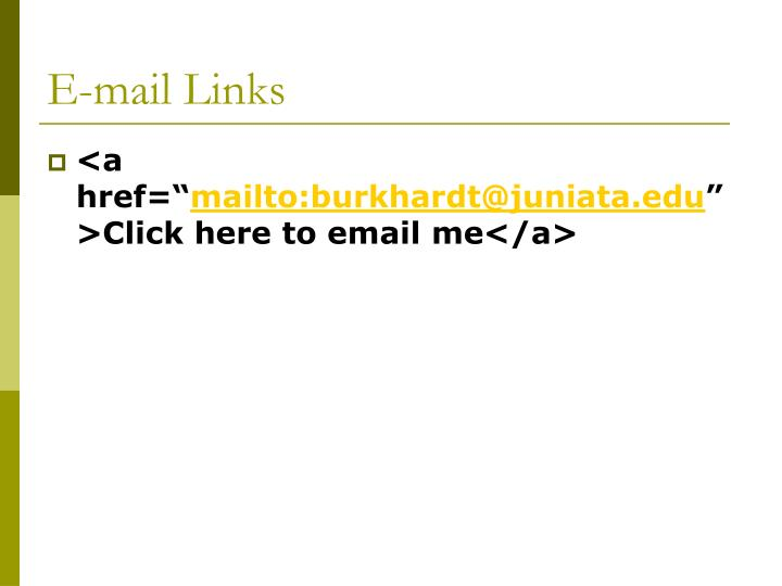 E-mail Links