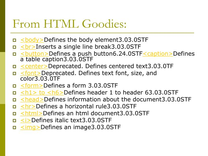 From HTML Goodies: