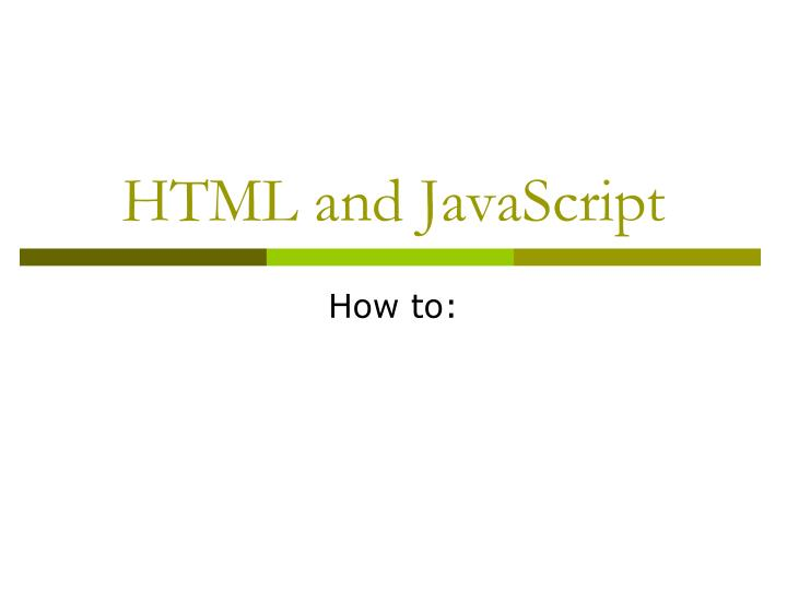 Html and javascript