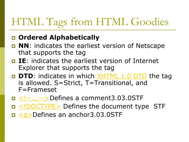 HTML Tags from HTML Goodies