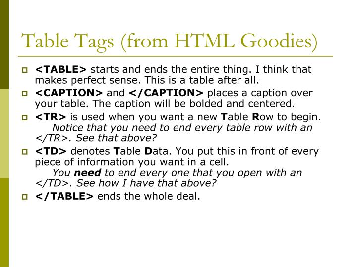 Table Tags (from HTML Goodies)