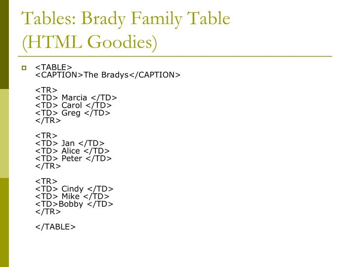 Tables: Brady Family Table