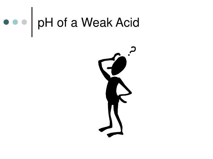 pH of a Weak Acid