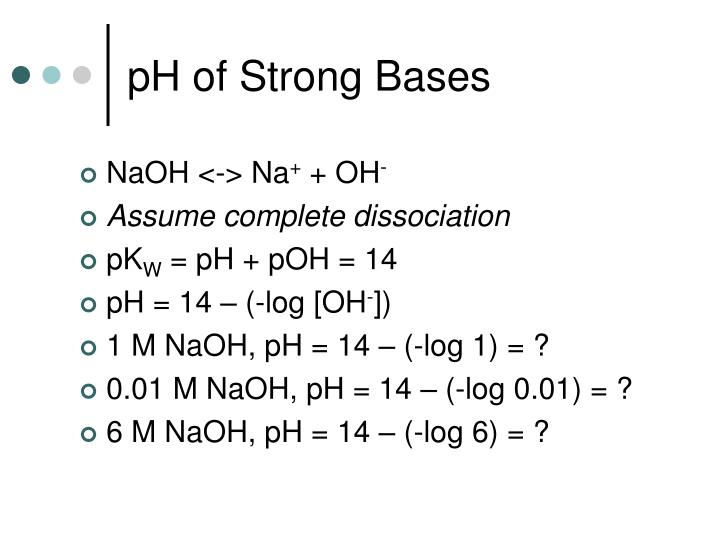 pH of Strong Bases