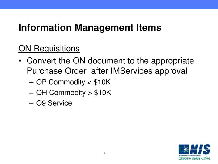 Information Management Items