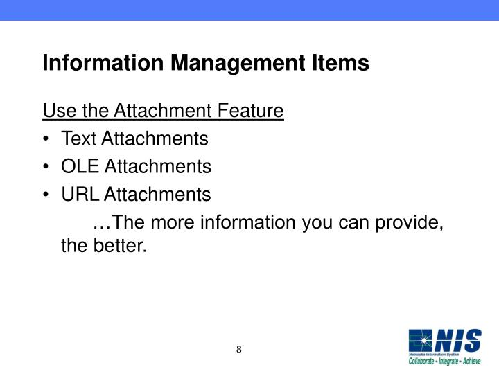 Information Management Items