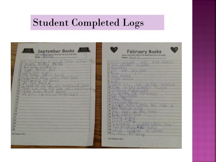 Student Completed Logs