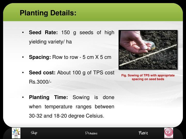 Planting Details: