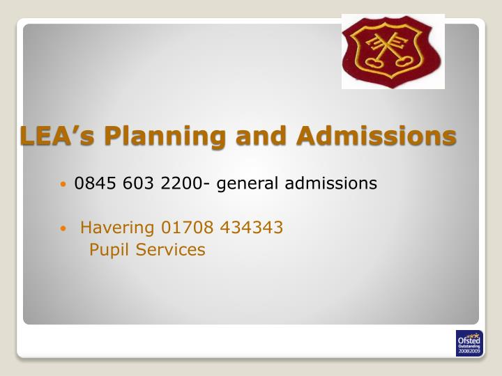 LEA's Planning and Admissions