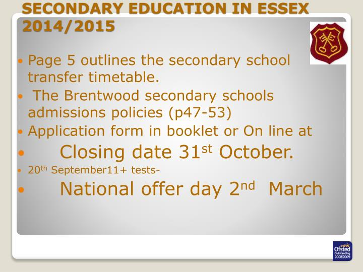SECONDARY EDUCATION IN ESSEX 2014/2015