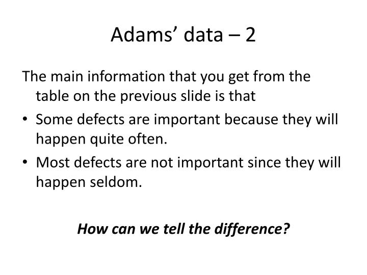 Adams' data – 2