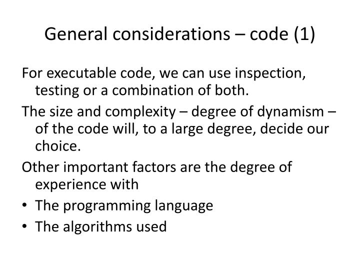 General considerations – code (1)