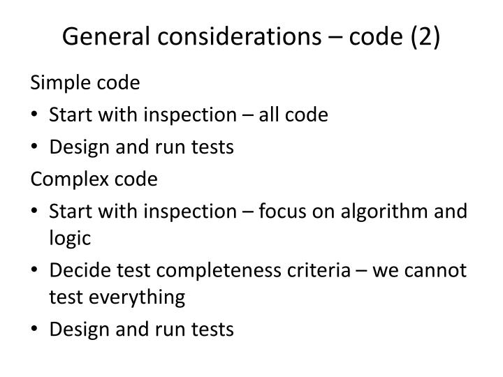 General considerations – code (2)
