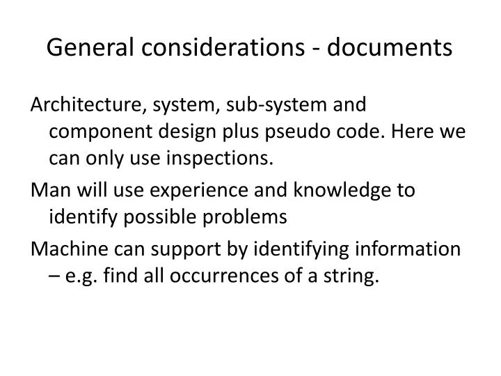 General considerations - documents