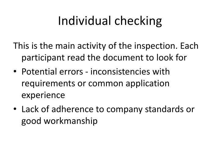 Individual checking
