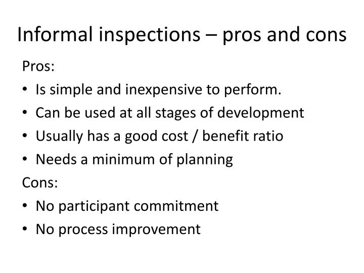 Informal inspections – pros and cons
