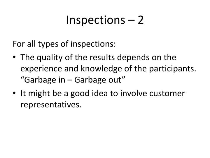 Inspections – 2