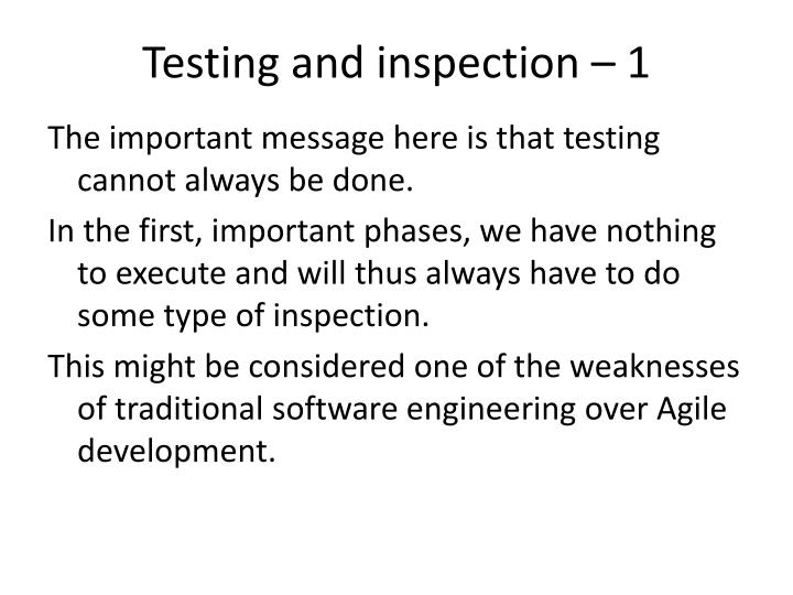 Testing and inspection – 1