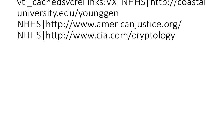 vti_cachedsvcrellinks:VX|NHHS|http://coastaluniversity.edu/younggen NHHS|http://www.americanjustice.org/ NHHS|http://www.cia.com/cryptology
