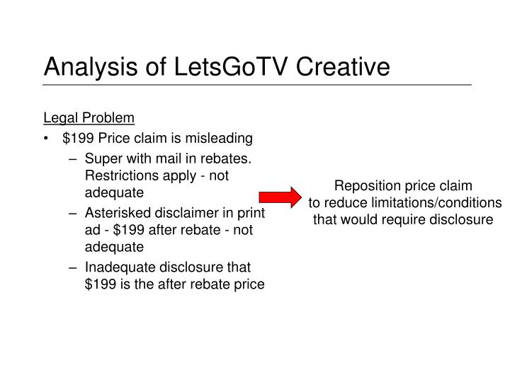 Analysis of LetsGoTV Creative