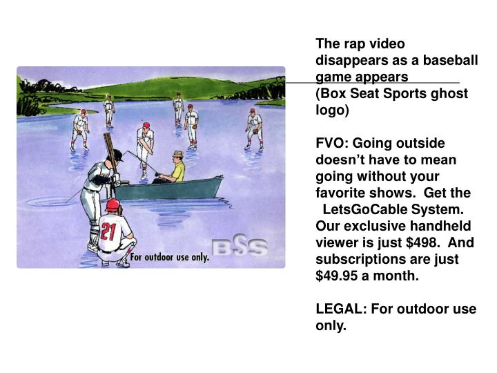 The rap video disappears as a baseball game appears